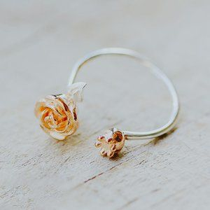 Gold Vermeil Rose Flower Ring Rose Jewelry